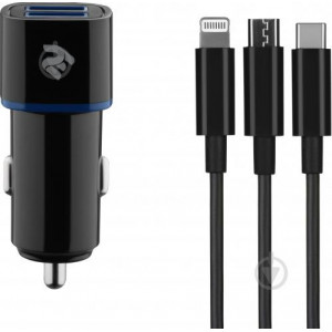 2E Car Charger dual USBx+Cable 3 in 1